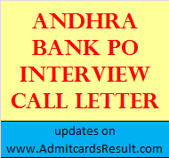 Andhra Bank PO Interview call letter