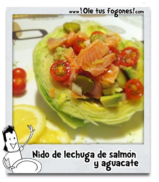 Nido de lechuga de salmón y aguacate