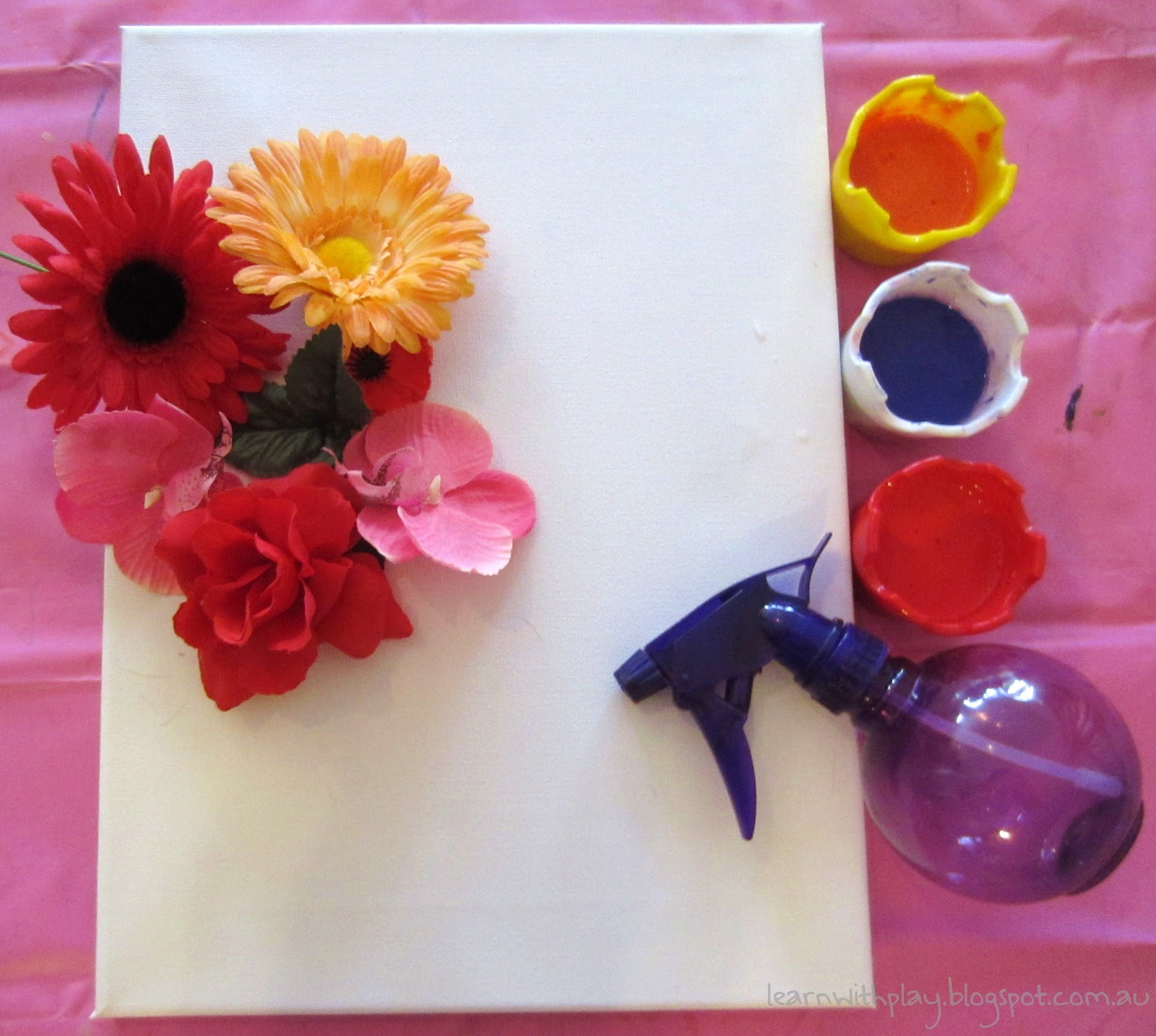 Learn with play at home flower stencil spray painting invitation to create mightylinksfo