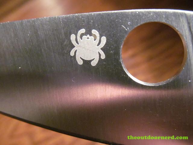 Spyderco Tenacious closeup of spider logo