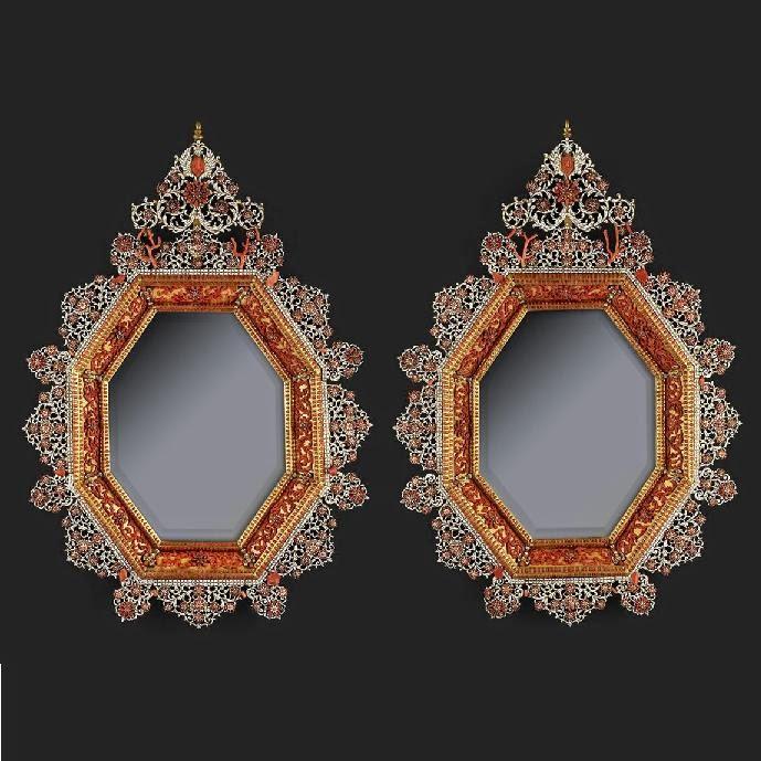 Specchi in corallo e smalto - Trapani, Seicento
