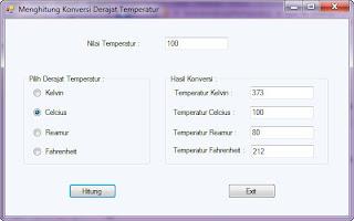 Konversi Derajat Temperatur VB 2010