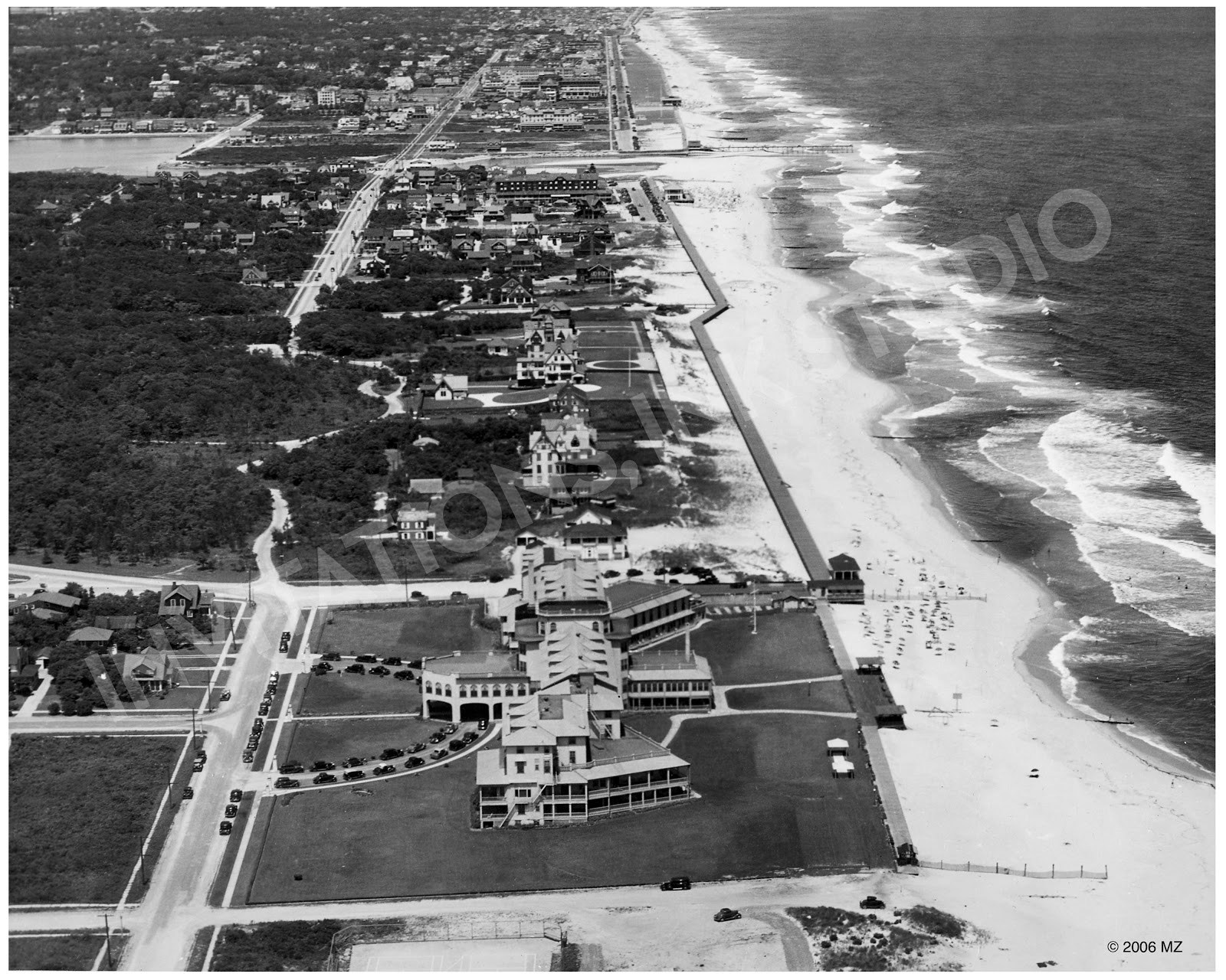 Sea Girt New Jersey C 1932 The Large Building In Lower Center Of Photograph Is Stockton Hotel It Was Destroyed By Fire 1965
