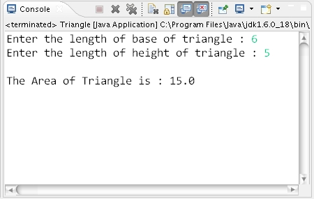 How to calculate area of triangle through a java program triangle ccuart Image collections