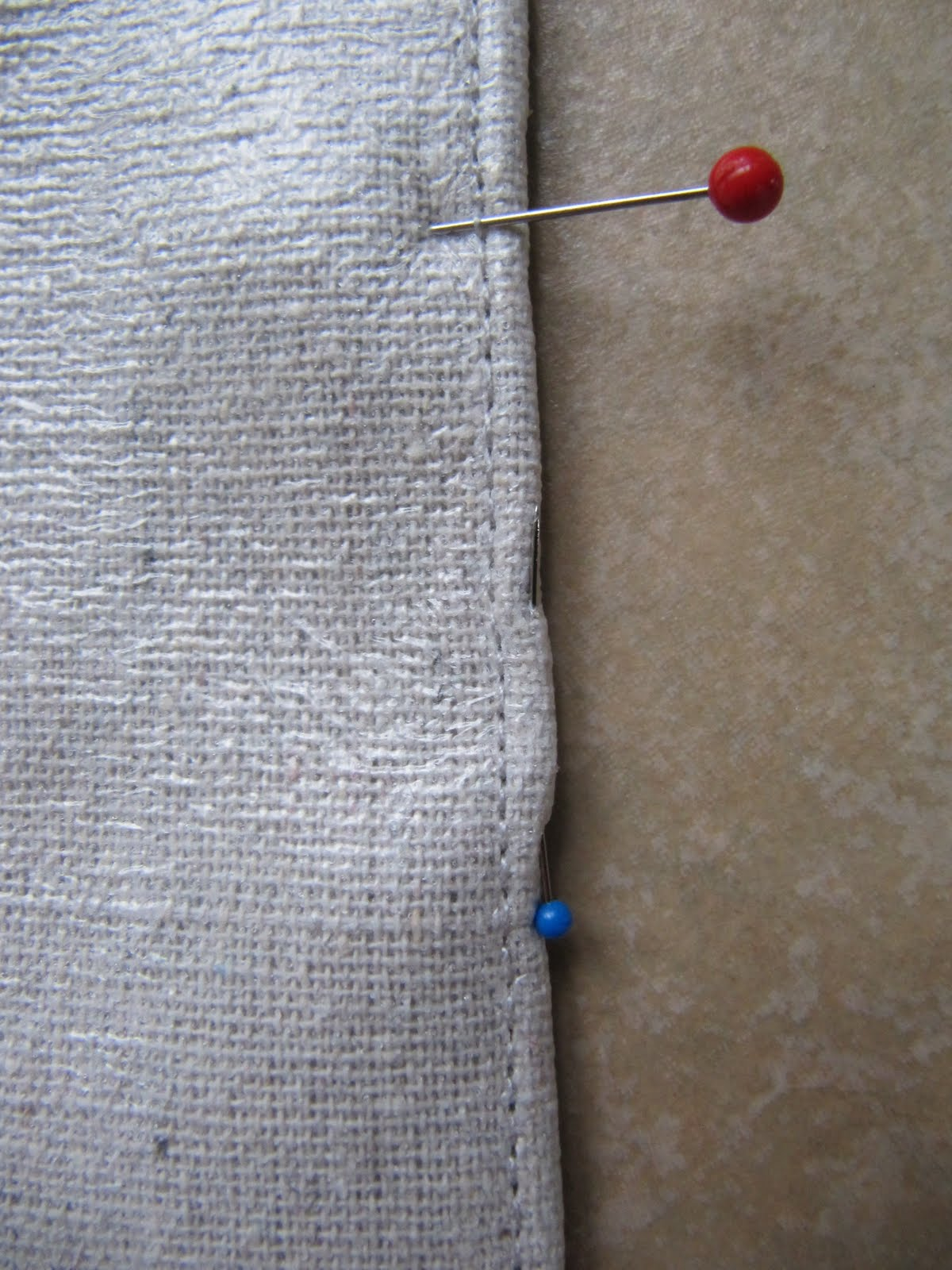 here is the 12 inch seam that connected the 2 raw edges on the right and the other narrow seam on the left