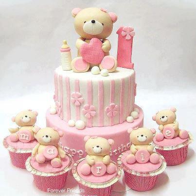 tarta rosa con ositos