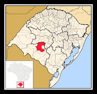 Cidade de São Gabriel indicada no mapa do Rio Grande do Sul.