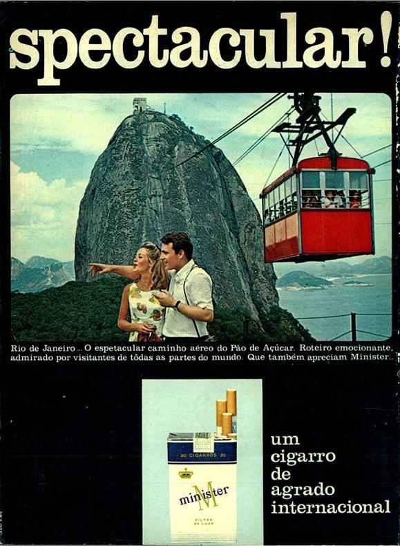 Propaganda dos Cigarros Minister, veiculada em 1968, com Rio de Janeiro como paisagem principal.
