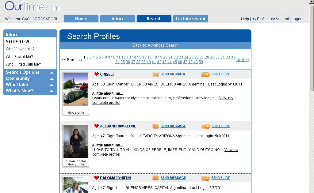 ourtime my profile