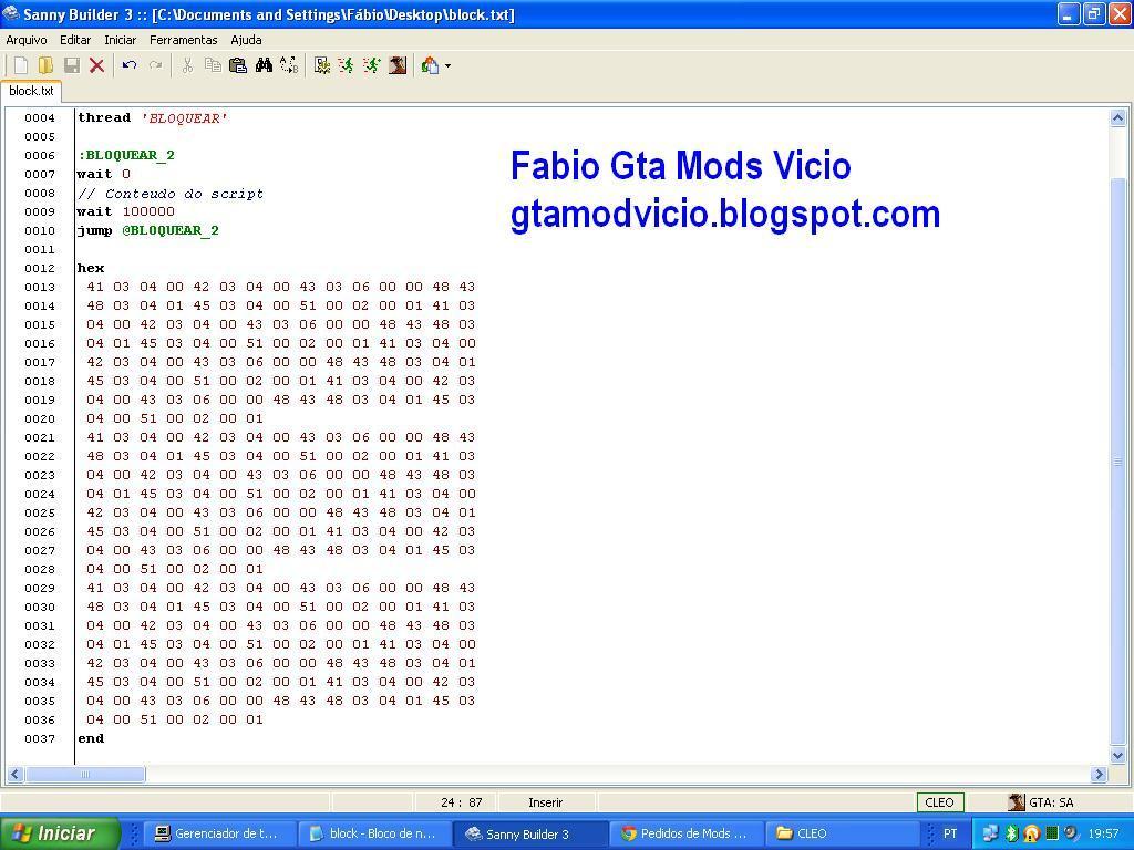 Imagem Criar um bloqueio COMPLETO em CLEO scripts - Método fácil :: Fabio Gta Mods Vicio (http://gtamodvicio.blogspot.com)