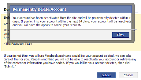 Permanent Temporary Deletion of FB Account