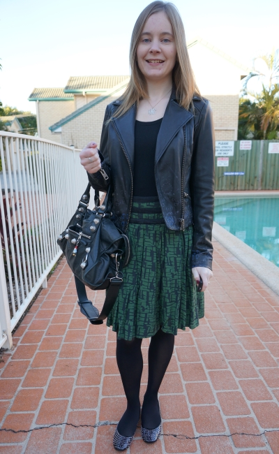 Away From Blue winter style French connection print skirt leather jacket black and green