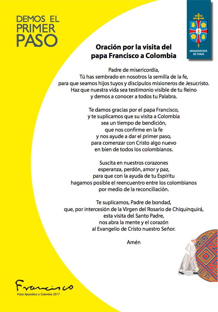 ORACIÓN POR LA VISITA DEL PAPA A COLOMBIA
