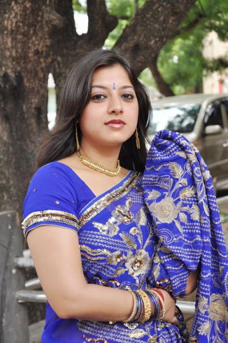 keerthi chawla spicy in blue saree photo gallery
