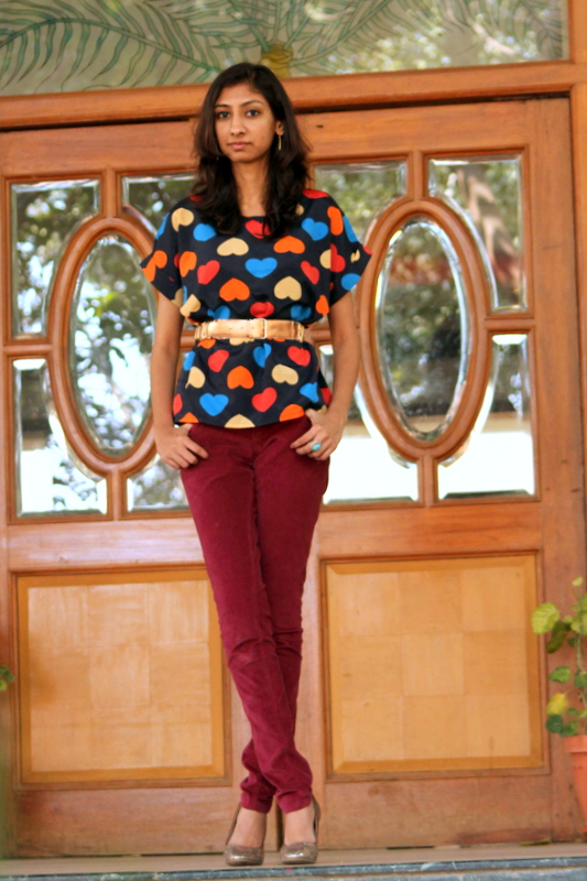heart print top, valentines day tops, top indian fashion blogger, chandana the girl at first avenue