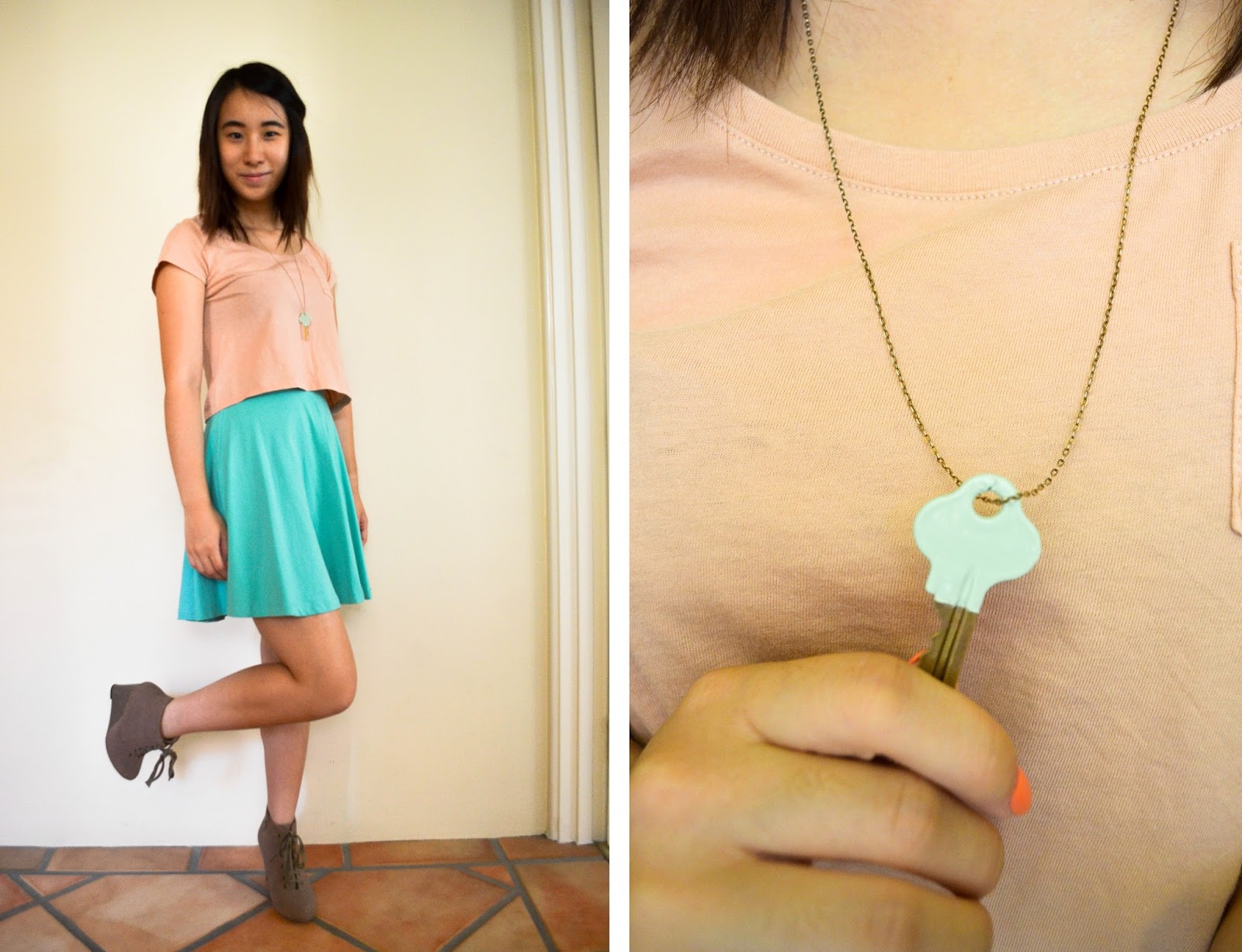 skater skirt skirts how to style colour blocking color crop top H&M tshirt diy key necklace boots wedges neutral