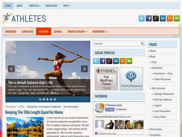 Athletes - Free Wordpress Theme