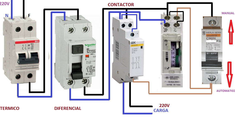Extractor De Baño Con Interruptor:contactor y interruptor horario mas manual/ automatico ~ Esquemas