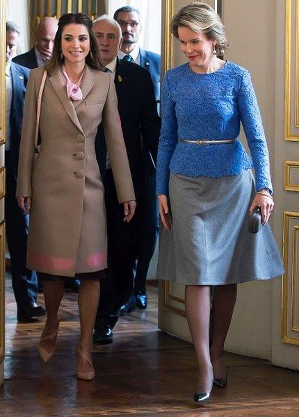 Queen Mathilde of Belgium met with Jordan's Queen Rania