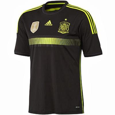 camiseta selección española negra segunda equipación 2014