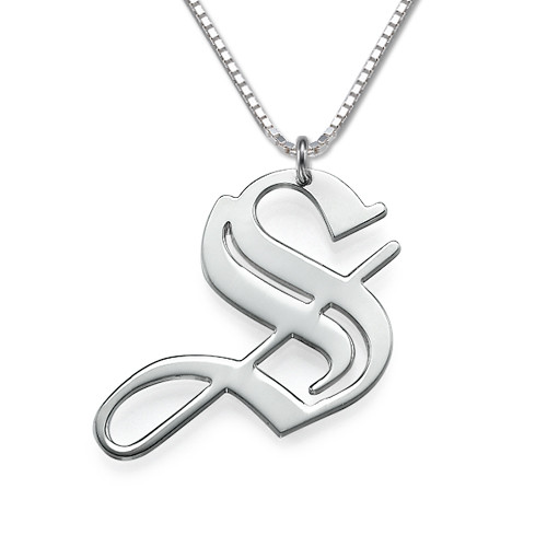 Men's Gothic Initial Necklace