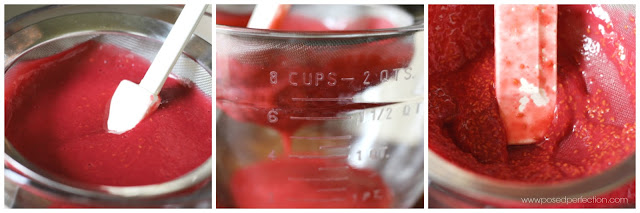 Straining the raspberry puree ensures no seeds or pulp in the Fresh Raspberry Buttermilk Sherbet.