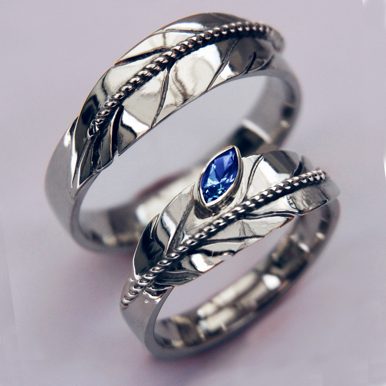 Silver Eagle Feather Wedding Rings Seeing in a Spirit Way Fisher