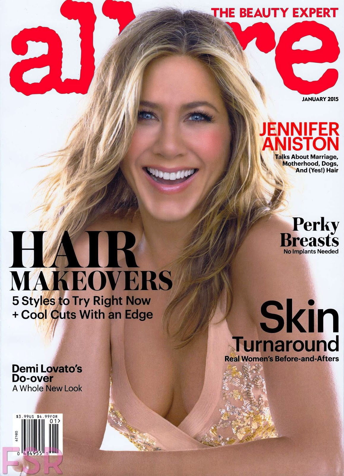 Jennifer Aniston bares cleavage for the Allure US January 2015 issue