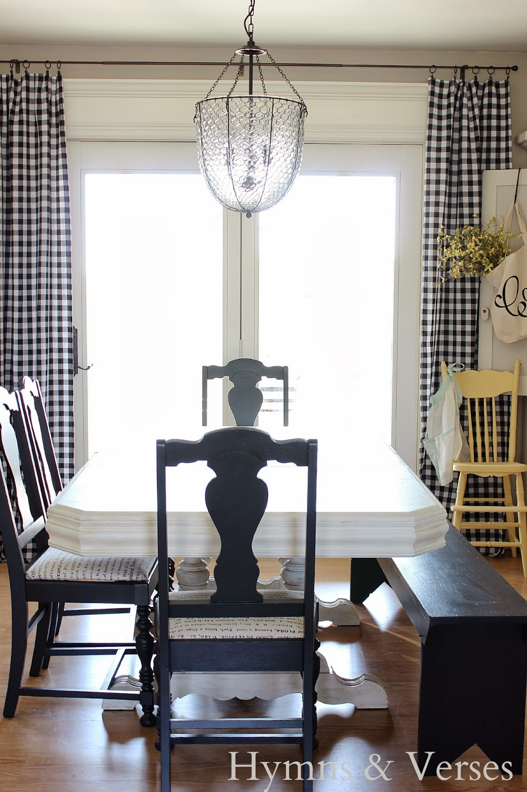 Hymns and Verses: Buffalo Check Curtains in the Dining Room