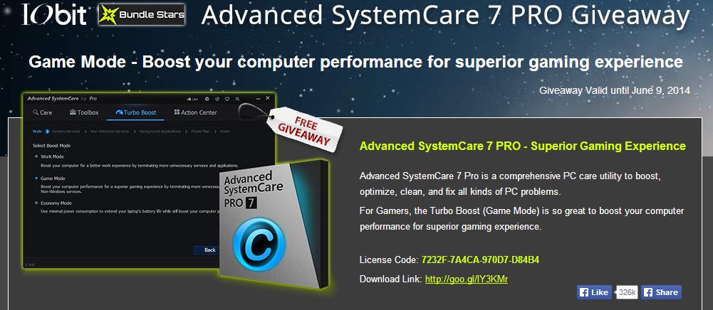 Advanced SystemCare Pro 7 promoción