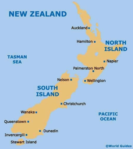 Major Cities In New Zealand South Island Powerpoint map of