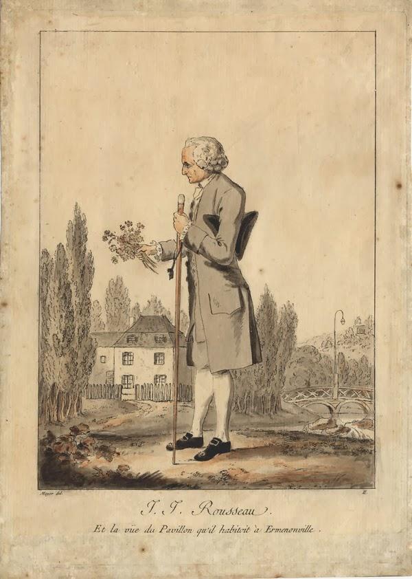 Jean-Jacques Rousseau, vue depuis son pavillon d'Ermenonville gravure