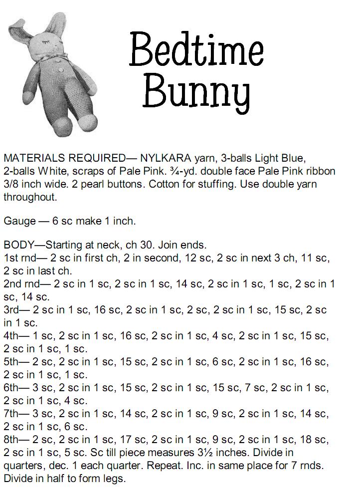 Free Bedtime Bunny Vintage Crochet Pattern