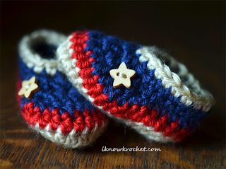 wooden star buttons on patriotic booties