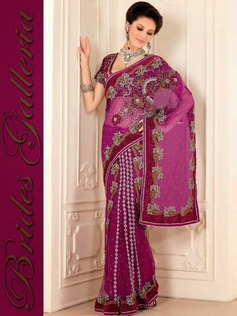 Colorful Hand Embroidery Designs Of Sarees For Party Wear By Brides