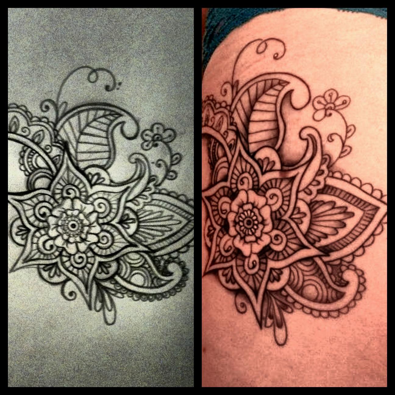Mehndi Designs On Hips : Henna tattoo on hip makedes