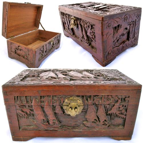 tropicalfeel vintage wood wooden jewelry treasure box