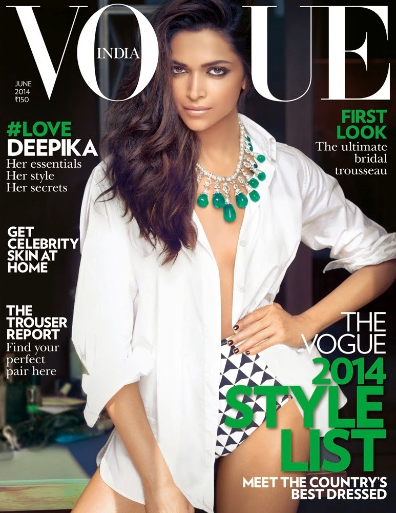 Deepika Padukone braless in sexy open shirt and swimwear in Vogue Magazine magazine