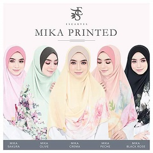 Instant Shawl Labuh Mika Printed