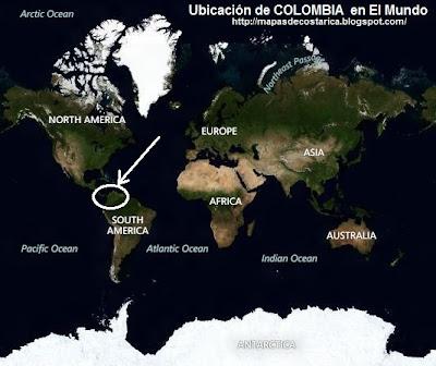 Ubicación de COLOMBIA en El Mundo, vista aérea, BING