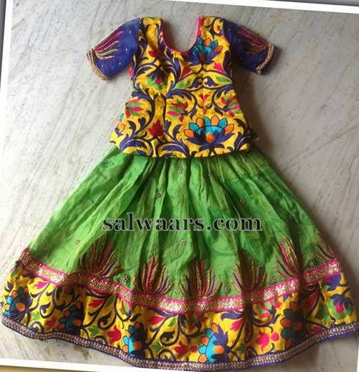 Kalamkari Work Latest Kids Skirt