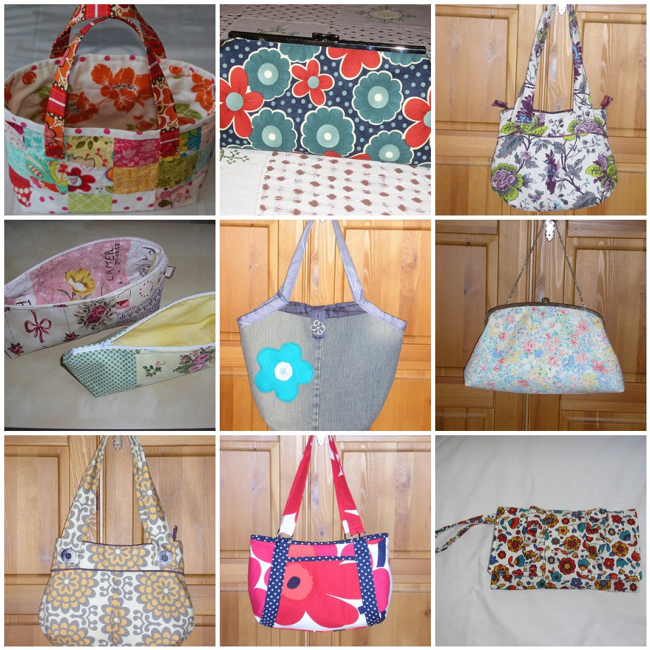 Completed Fabric Bag 2 Colourful Clutch 3 Pretty Purple Pinafore 4 Amy Butler Origami Bags 5 Summertime Blues 6 Garden Party 7