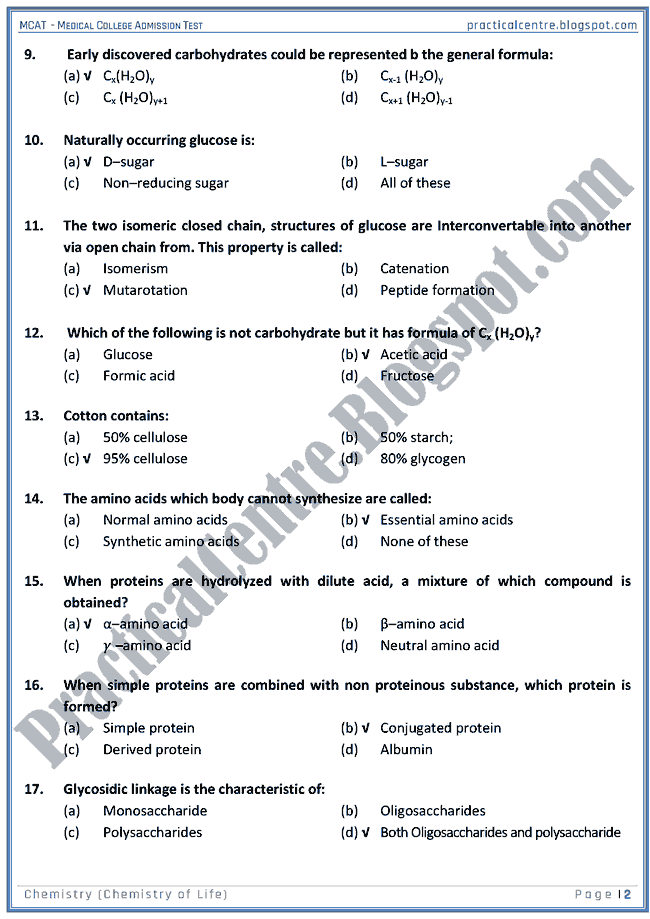 mcat-chemistry-chemistry-of-life-mcqs-for-medical-college-admission-test