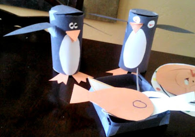 Penguin toilet paper roll craft