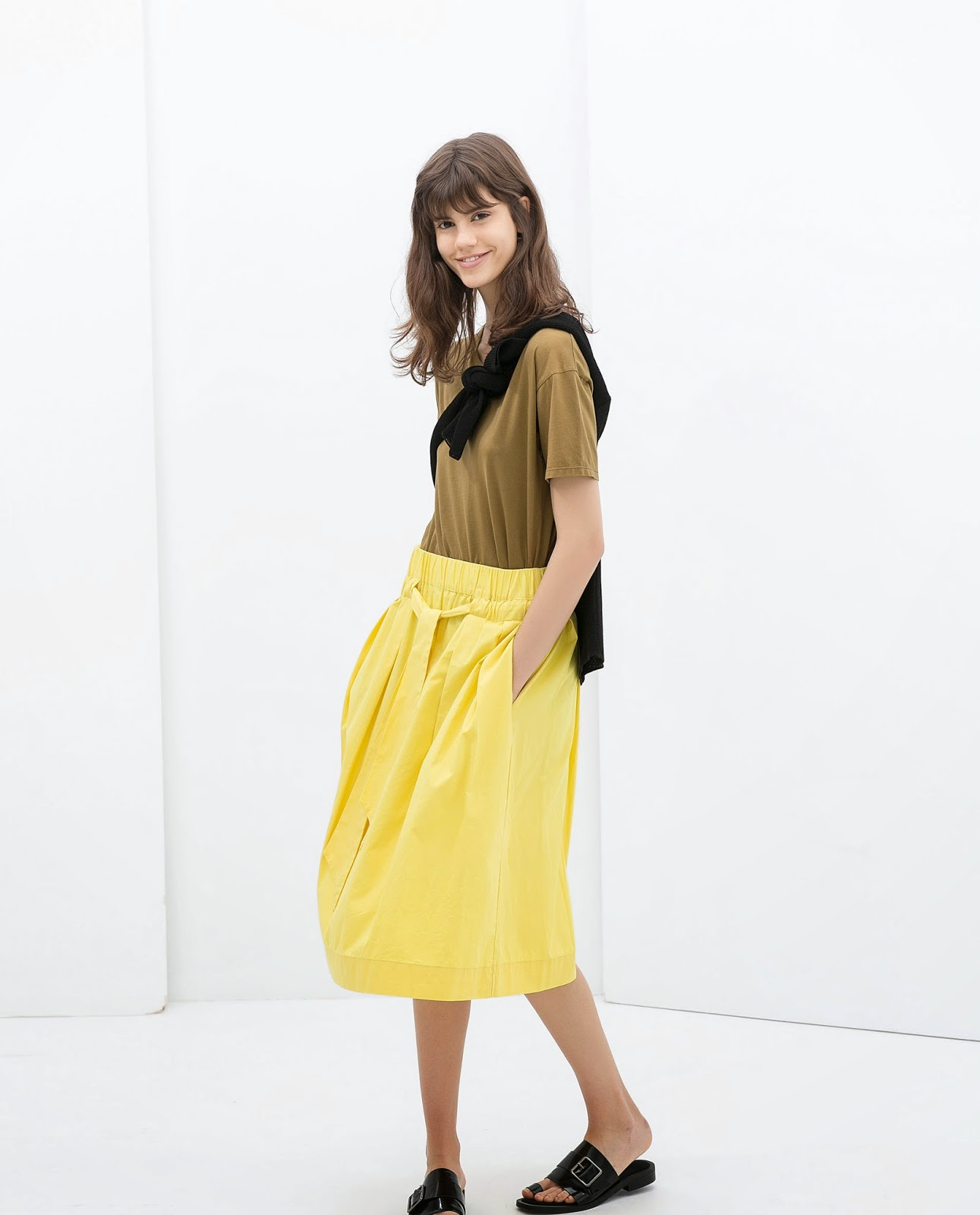 zara yellow skirt