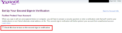 Yahoo! Second Sign-in Verification
