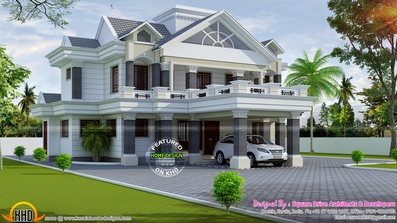 Nice decorative villa kerala home design and floor plans for Nice home designs kerala