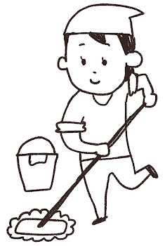 掃除のイラスト「モップがけする女性」線画