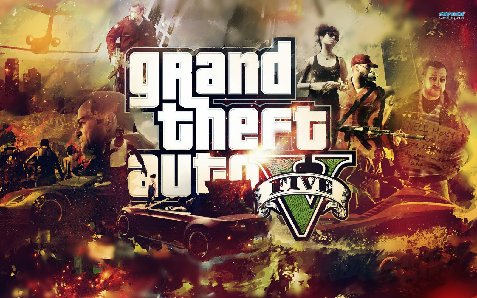This Gta V Wallpaper Are Not Like The Other Its Featuring All Characters In Game Its Also Have A Burning Red Background You Can Download This Gta V
