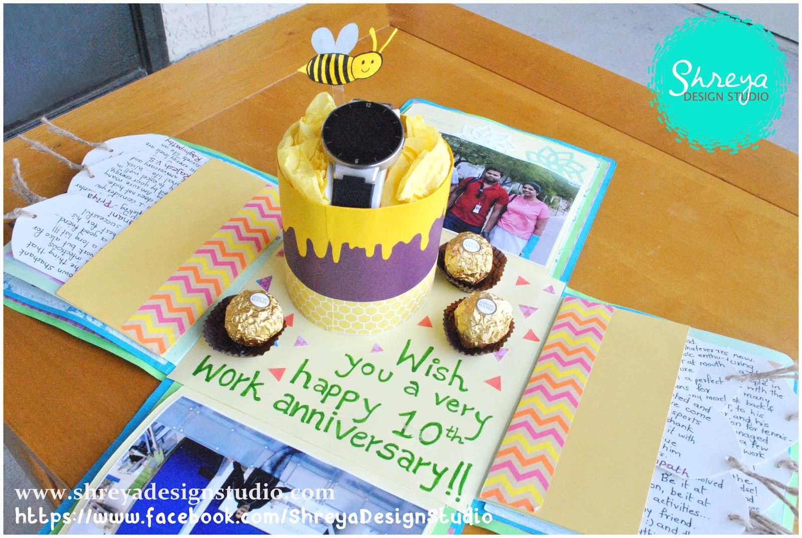 Explosion Box Card For 10th Work Anniversary Shreya Design Studio